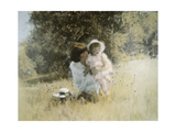 Mother and Child in Field Giclee Print by Nora Hernandez