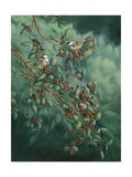 Holly and Chickadees Giclee Print by Wanda Mumm