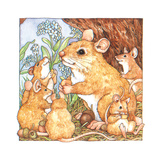 A Rat Family Eating Nuts Giclee Print by Wendy Edelson