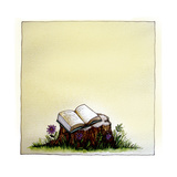 A Stump with Flowers Surrounding it with an Open Book on Top Giclee Print by Wendy Edelson