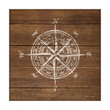 Compass on Wood Lámina giclée por Stephanie Marrott