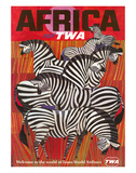 Africa - Fly TWA (Trans World Airlines) - Zebras Wydruk giclee autor David Klein