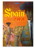 Spain - Fly TWA (Trans World Airlines) - Matadors Print by David Klein