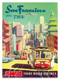 San Francisco California via TWA (Trans World Airlines) - Cable Cars Print by David Klein