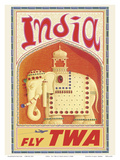India - Fly TWA (Trans World Airlines) - Bejeweled Indian Elephant with Howdah (Carriage) Art by David Klein