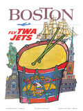 Boston - Fly TWA Jets - Trans World Airlines - Colonial Massachusetts Prints by David Klein