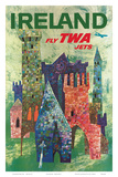 Ireland - Fly TWA Jets - Trans World Airlines - Boeing 707 over Irish Colorful Castles Print by David Klein