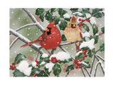 Snowy Perch - Cardinals Giclee Print by William Vanderdasson