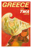 Greece - Fly TWA Jets (Trans World Airlines) - Greek Warrior Posters by David Klein