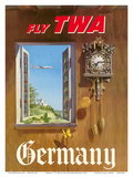 Germany - Fly TWA (Trans World Airlines) - German Black Forest Cuckoo Clock Posters by William Ward Beecher