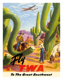 To the Great Southwest - Fly TWA Trans World Airlines Giclee Print by Frank Soltesz