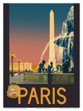 Paris - Place de La Concorde Fountain - Chemins de fer de Paris-Lyon-Méditerranée Railway (PLM) Posters by Julien Lacaze