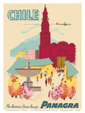 Chile - Plaza de Armas - Santiago - PANAGRA (Pan American Grace Airways) Prints by C. Bush