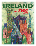 Ireland - Fly TWA Jets - Trans World Airlines - Boeing 707 over Irish Colorful Castles Giclee Print by David Klein