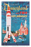 Disneyland - Los Angeles - Fly TWA (Trans World Airlines) - Tomorrowland TWA Moonliner Art by David Klein