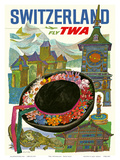 Switzerland - Fly TWA (Trans World Airlines) Print by David Klein