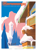 Winter Playground Bavarian Alps 850-1700m - Lufthansa Print by Albert Staehle