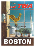 Boston, Massachusetts - Fly TWA (Trans World Airlines) - Ship in a Bottle - Rooster Weathervane Posters by William Ward Beecher