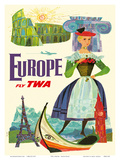 Europe - Fly TWA (Trans World Airlines) Art by David Klein