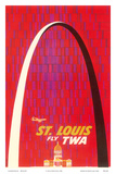 St. Louis, USA - Fly TWA (Trans World Airlines) - The Gateway Arch Monument Print by David Klein