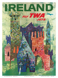Ireland - Fly TWA Jets - Trans World Airlines - Boeing 707 over Irish Colorful Castles Art by David Klein