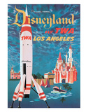 Disneyland - Los Angeles - Fly TWA (Trans World Airlines) - Tomorrowland TWA Moonliner Giclee Print by David Klein