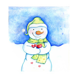 Snowman Holding Hearts Giclee Print by Valarie Wade