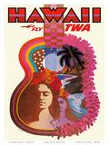 Hawaii - Fly TWA (Trans World Airlines) - Ukulele Psychedelic Flower Power Art Kunst af David Klein