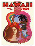 Hawaii - Fly TWA (Trans World Airlines) - Ukulele Psychedelic Flower Power Art Prints by David Klein