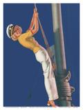 First Mate - Sailboat Sailor Pin Up Girl - Brown & Bigelow Company ポスター : アール・モラン