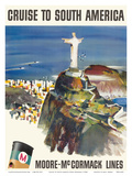 Cruise to South America - Moore-McCormack Lines - Christ the Redeemer - Mt. Corcovado, Rio, Brazil Prints by Dong Kingman