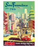 San Francisco California via TWA (Trans World Airlines) - Cable Cars Giclee Print by David Klein