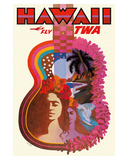 Hawaii - Fly TWA (Trans World Airlines) - ?Ukulele Psychedelic Flower Power Art Giclée-tryk af David Klein