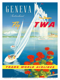 Geneva, Switzerland - Fly TWA (Trans World Airlines) Prints by Walter Mahrer