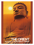 The Orient - Fly there on Northwest Orient Airlines - Great Buddha of Kamakura Prints by  Pacifica Island Art