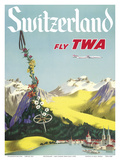 Switzerland - Lake Lucerne Swiss Alps - Fly TWA (Trans World Airlines) Poster
