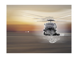 Helicopter over Water Giclee Print by  Whoartnow