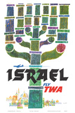 Israel - Fly TWA (Trans World Airlines) - Menorah Art by David Klein