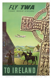 To Ireland - Fly TWA (Trans World Airlines) - Celtic Cross Posters by S. Greco