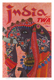 India - Fly TWA Jets (Trans World Airlines) - Adorned Elephant Art by David Klein