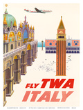 Italy - Fly TWA (Trans World Airlines) - Piazza San Marco (St. Mark Plaza) Prints by David Klein