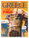 Greece - Fly TWA (Trans World Airlines) - Corinthian Style Greek Column Poster by David Klein