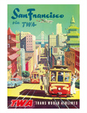 San Francisco California via TWA (Trans World Airlines) - Cable Cars Giclee Print by David Klein