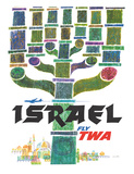 Israel - Fly TWA (Trans World Airlines) - Menorah Giclee Print by David Klein