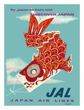 Discover Japan - Fly Japan Air Lines (JAL) - Japanese Koinobori (Carp Streamer) Wydruk giclee autor Murakoshi