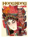 Hong Kong - Fly TWA (Trans World Airlines) Lámina giclée por David Klein