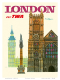London UK - Fly TWA (Trans World Airlines) - Westminster Abbey Church Art by David Klein