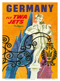 Germany - Fly TWA Jets (Trans World Airlines) - Fountain of Nuremberg Poster by David Klein