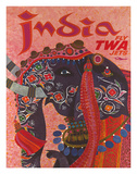 India - Fly TWA Jets (Trans World Airlines) - Adorned Elephant Giclee Print by David Klein