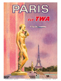 Paris, France - Fly TWA (Trans World Airlines) Print by David Klein
